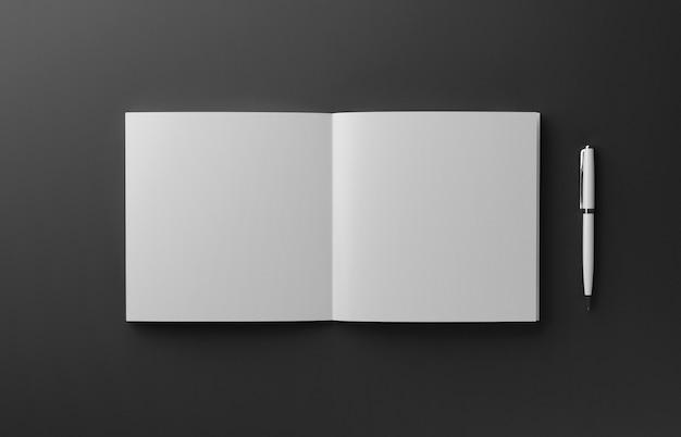 Libro fotorealistico in bianco isolato su fondo rosso, illustrazione 3d.