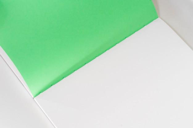Libro in bianco aperto al fondo verde bianco della carta di progettazione.
