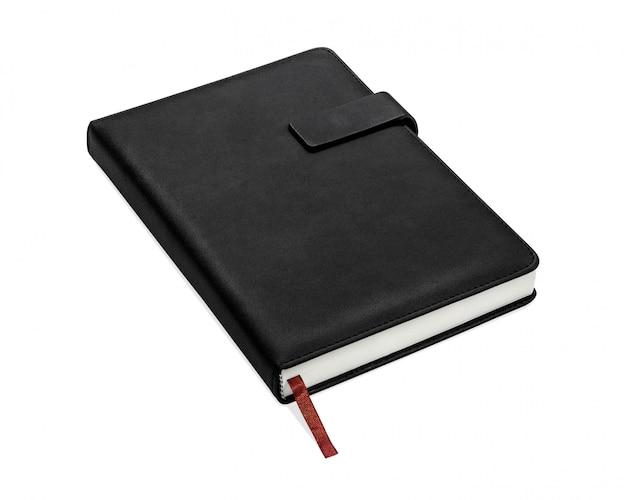 Libro nero isolato su sfondo bianco.