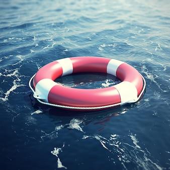 Lifebuoy nel mare, l'oceano con effetto di messa a fuoco.