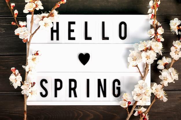 Lightbox con citazione ciao primavera e rametti di fiori di albicocca su fondo di legno