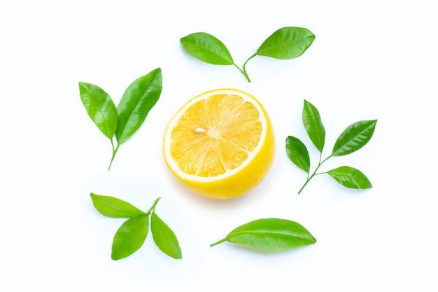 Limone con il cerchio delle foglie su bianco