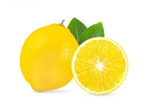 Limone con la foglia isolata su fondo bianco