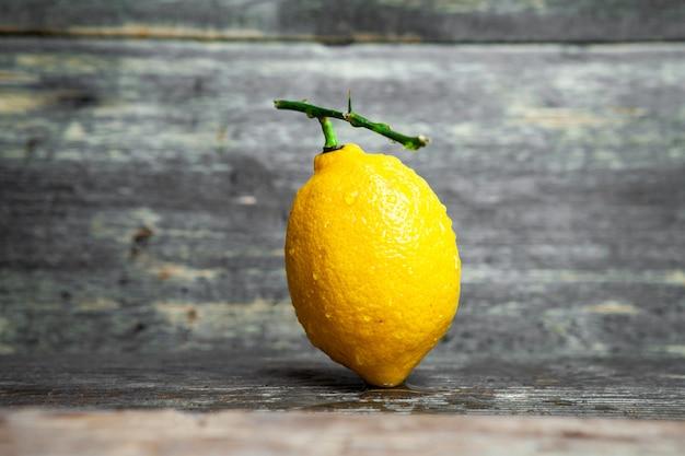Limone con la vista laterale del ramo vuoto su un fondo di legno scuro