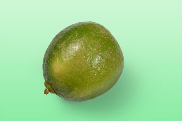 Limone tahitiano intero su sfondo verde chiaro