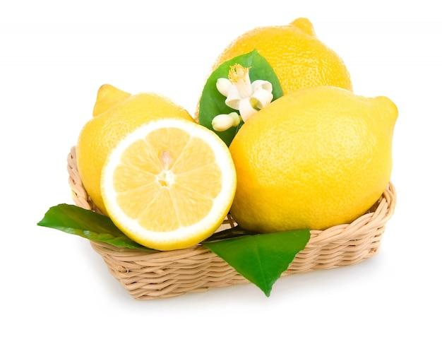 Limoni gialli maturi isolati in cestino