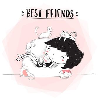 Linea di disegno sveglio ragazza abbraccio gatti sul divano