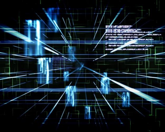 Linee blu accanto a schermi e testo