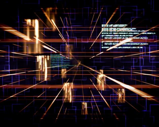 Linee blu e arancione accanto agli schermi