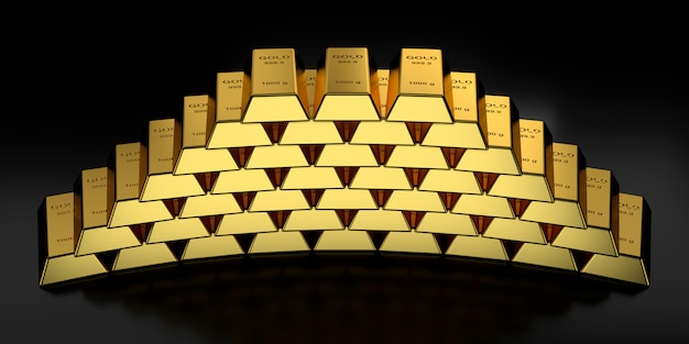 Lingotti d'oro in rendering 3d