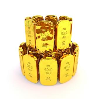 Lingotti d'oro in una pila. illustrazione 3d