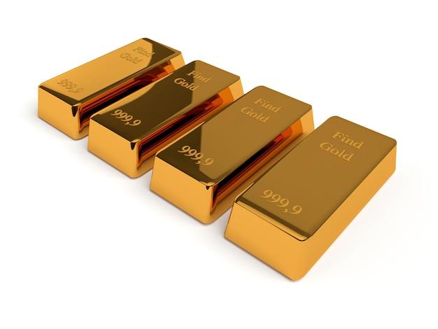 Lingotti d'oro isolati su sfondo bianco