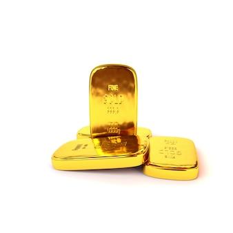 Lingotti d'oro lucido di altissimo livello su uno sfondo bianco. illustrazione 3d, render