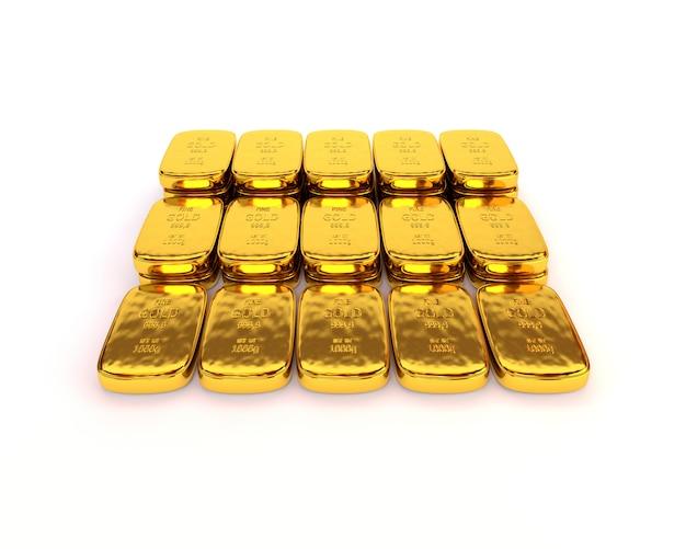Lingotti d'oro lucido di altissimo livello su uno sfondo bianco. illustrazione 3d