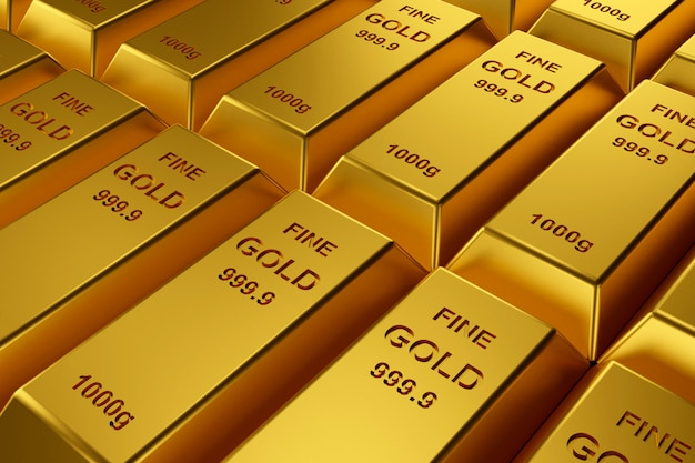 Lingotti d'oro per il sito web. rendering 3d di lingotti d'oro.