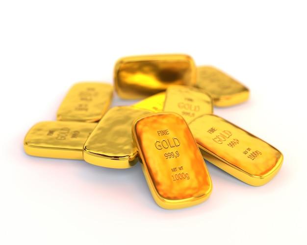 Lingotti d'oro su uno sfondo bianco. concetto di business illustrazione 3d.