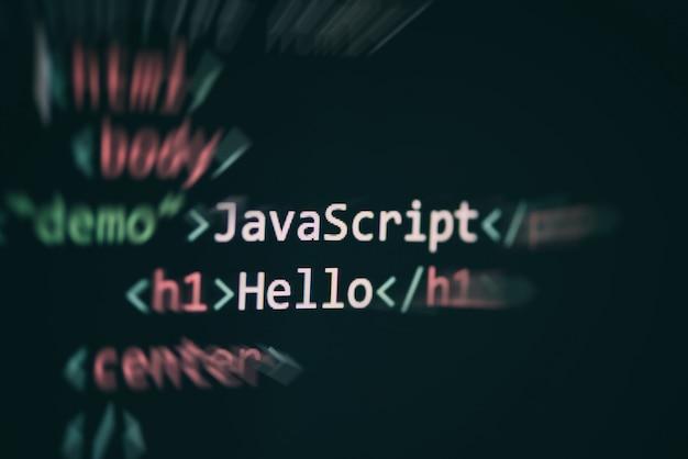 Linguaggio del linguaggio dei codici javascript che programma i componenti dell'editor di testo di internet