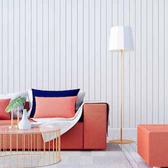 Living coral interior / color of the year per festosa e san valentino / rendering 3d