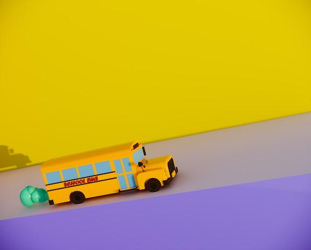Lo scuolabus sveglio sulla strada 3d rende.