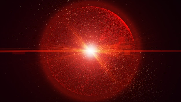 Lo sfondo nero ha una piccola particella di polvere rossa che brilla in un movimento circolare, raggio di luce esplosione.