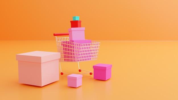 Lo shopping online è circondato da acquisti con carrello e confezione regalo
