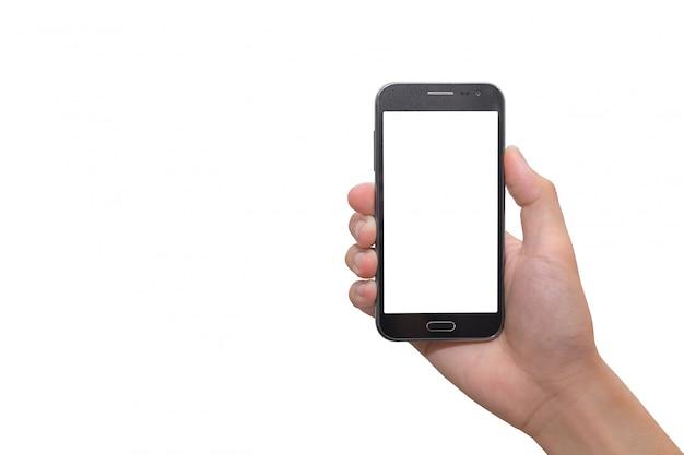 Lo smart phone mobile della tenuta della mano deride sullo schermo per progettazione, applicazione. (con ritaglio pat