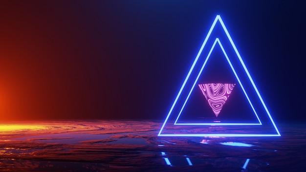 Lo spazio astratto, il triangolo della luce al neon, 3d rende, il concetto dell'universo, 3d rende