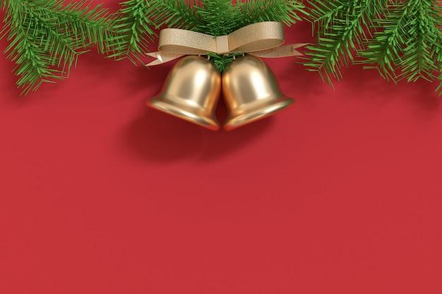 Lo spazio libero di natale gemello-natale 3d dell'albero di natale della campana di natale dell'oro gemellato rende