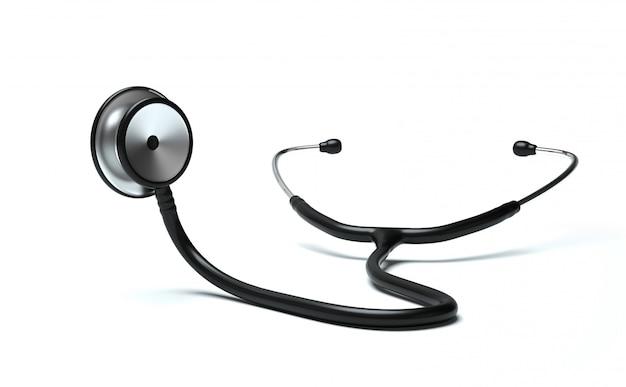 Lo stetoscopio sta ascoltando qualcosa su fondo bianco. verifica. concetto. la scena.