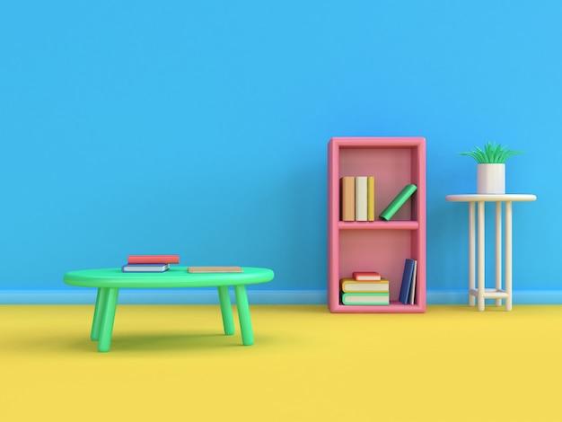 Lo stile 3d del fumetto del tavolo da pranzo del giappone dello scaffale per libri 3d rende il cono blu di istruzione del pavimento della parete di giallo