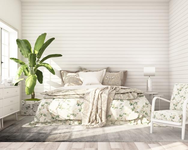 Lo stile classico moderno della camera da letto del modello con il letto di legno bianco del gabinetto della parete e la poltrona 3d rendono