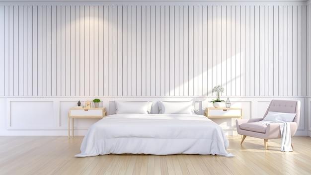 Lo stile minimalista e scandinavo, l'interno accogliente della camera da letto, la stanza bianca, 3d rendono