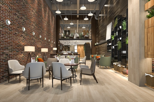 Loft di rendering 3d e reception dell'hotel di lusso e ristorante lounge bar
