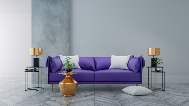 Loft moderno interno del salotto, concetto di arredamento per la casa ultravioletto