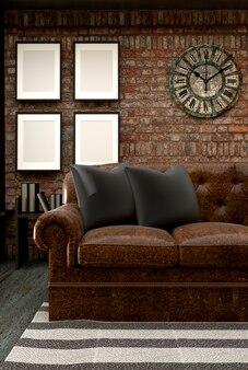 Loft style interior design. rendering 3d