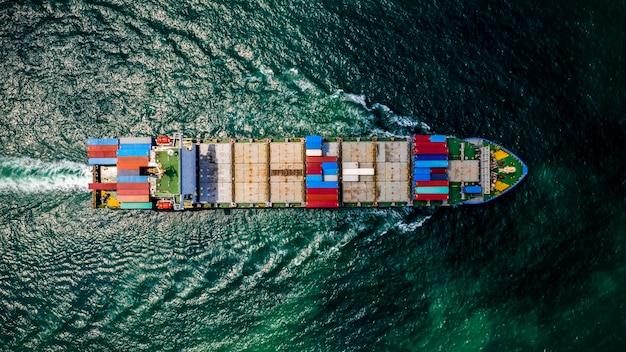 Logistica di carico merci container import e export di servizi e industria