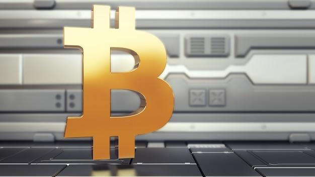 Logo bitcoin nell'astronave