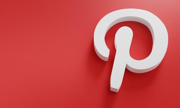 Logo pinterest modello minimo di design semplice. copia space 3d