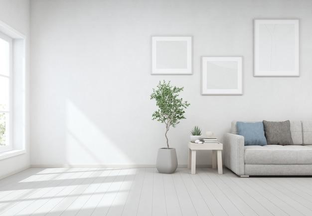 Lounge vicino alla finestra di vetro nel luminoso soggiorno della moderna casa scandinava.