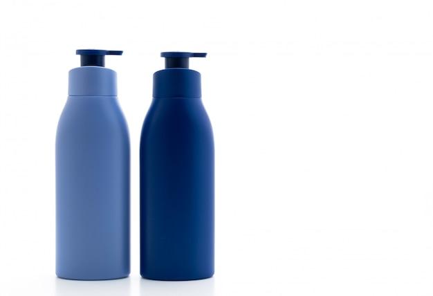 Lozione, crema o bagno bottiglia di gel su sfondo bianco