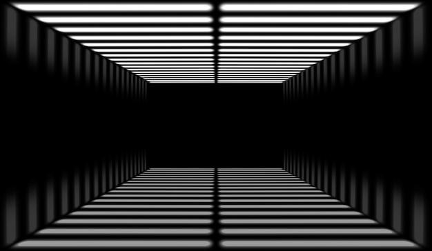 Luce al neon moderna bianca lungo il fondo del tunnel cubo di rettangolo.
