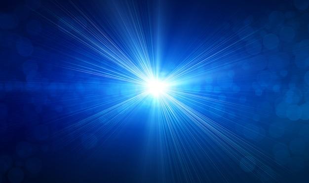 Luce del riflesso lente su sfondo blu