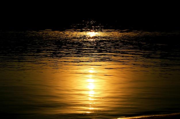 Luce della luna sul fiume di notte dell'acqua