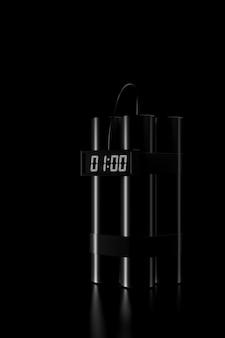 Luce e ombra della bomba dinamite nell'oscurità. rendering 3d.