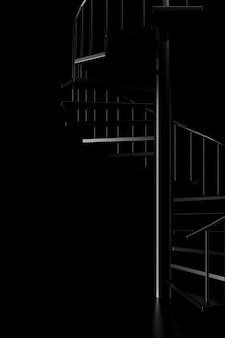 Luce e ombra della scala a chiocciola nell'oscurità. rendering 3d.