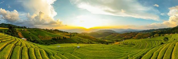 Luce solare al crepuscolo del paesaggio dell'azienda agricola del riso. risaie a terrazze di pa bong piang, mae chaem, chiang mai thailand