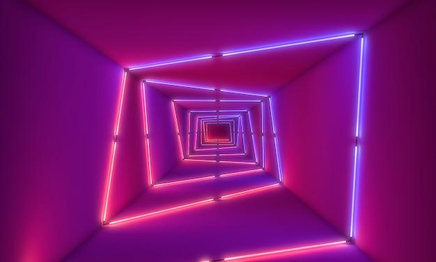 Luci al neon sullo sfondo del tunnel