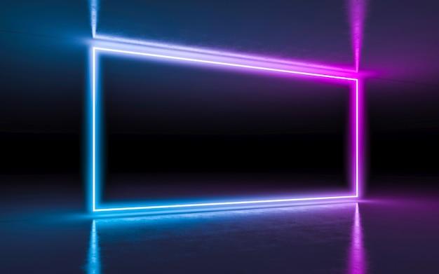 Luci d'ardore al neon porpora e blu del fondo astratto nella stanza scura vuota con la riflessione.