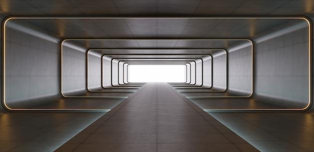 Luci futuristiche del tubo al neon giallo di fantascienza che emettono luce nella stanza concreta.
