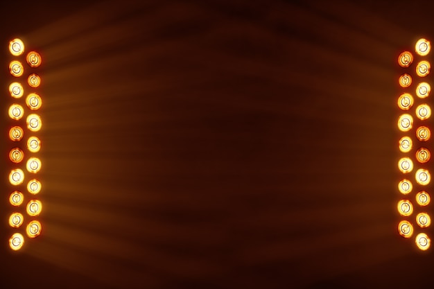 Luci luminose del palcoscenico che lampeggiano in un posto di colore arancione per lo spazio della copia del testo